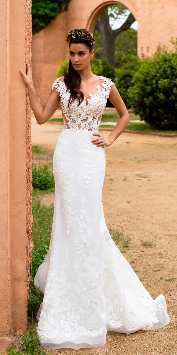 satin mermaid wedding dress with cap sleeves mila nova