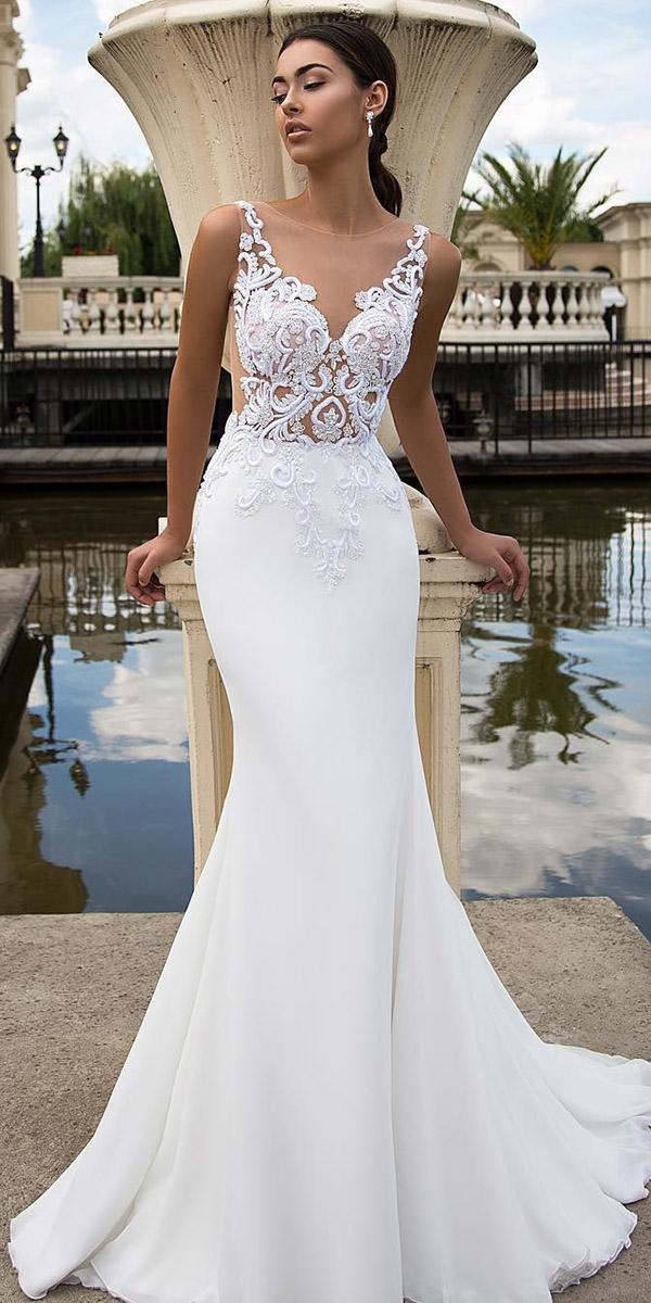 satin mermaid wedding dresses lace top illusion neckline beach tina valerdi