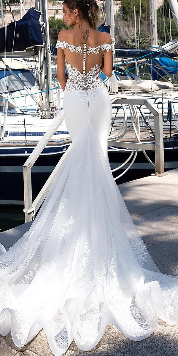 satin mermaid wedding dresses off the shoulder lace with train tina ivashchenko