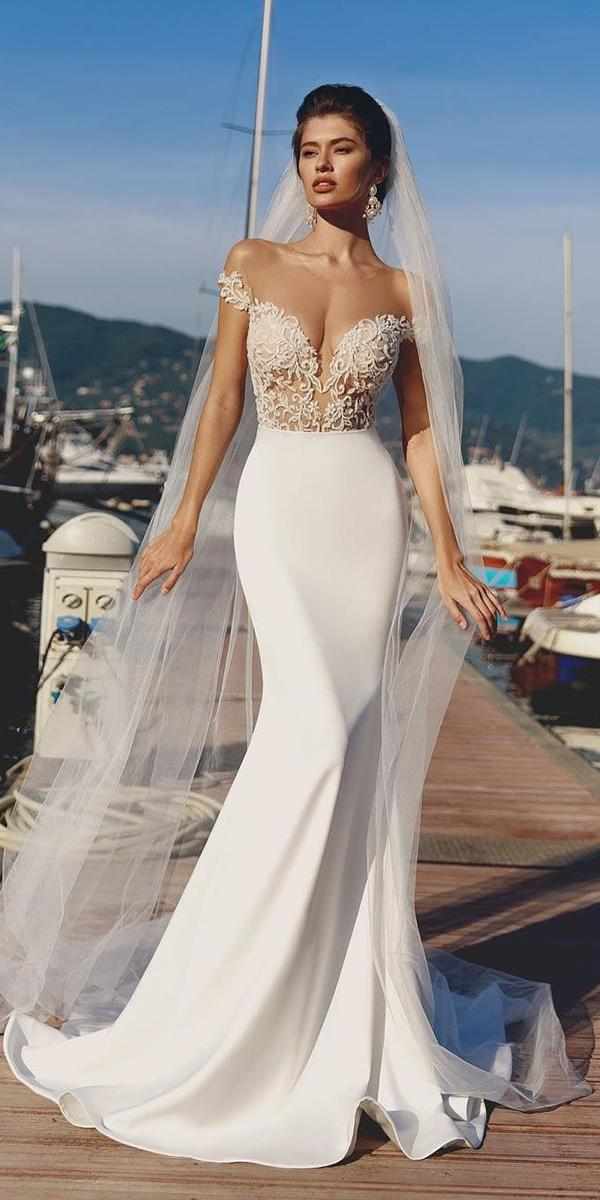 satin mermaid wedding dresses off the shoulder sweetheart lace top viero bridal