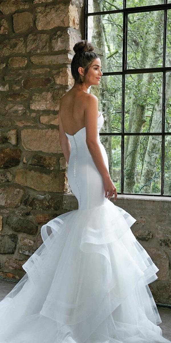 satin mermaid wedding dresses simple open back ruffled skirt sincerity bridal