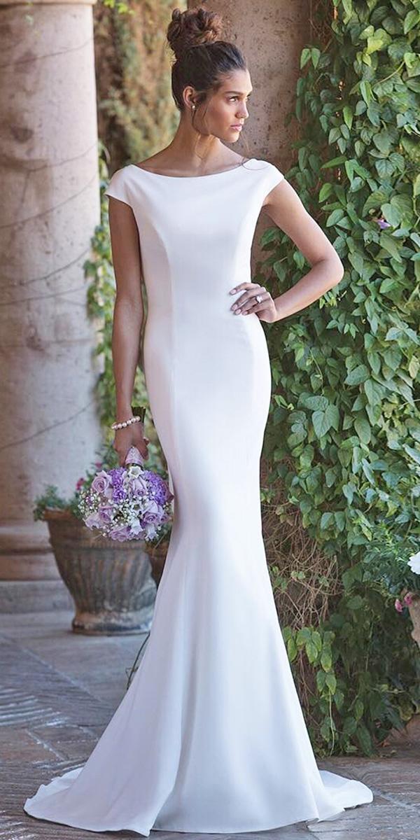 satin mermaid wedding dresses simple with cap sleeves sincerity bridal