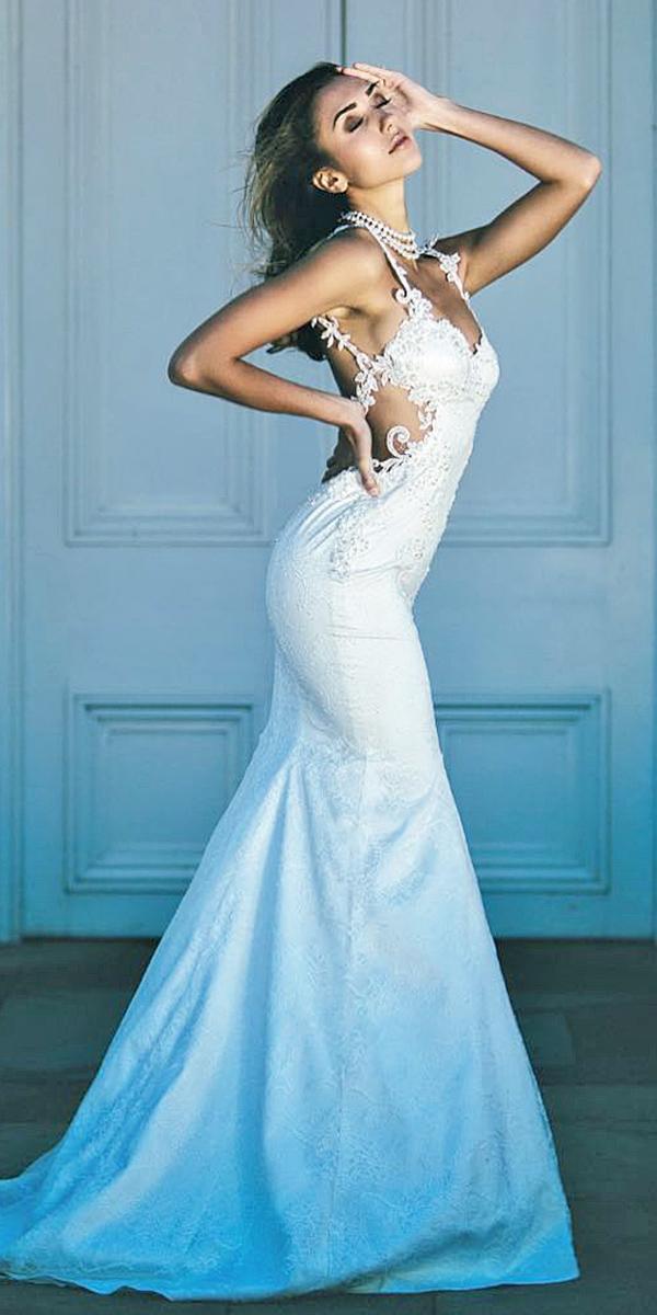 satin mermaid wedding dresses spaghetti straps lace embellishment nurit hen couture
