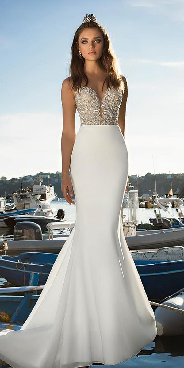 satin mermaid wedding dresses sweetheart deep v neckline lace top julie vino