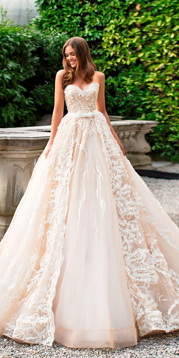 satin silk ballgown strapless sweetheart elegant wedding dresses mila nova