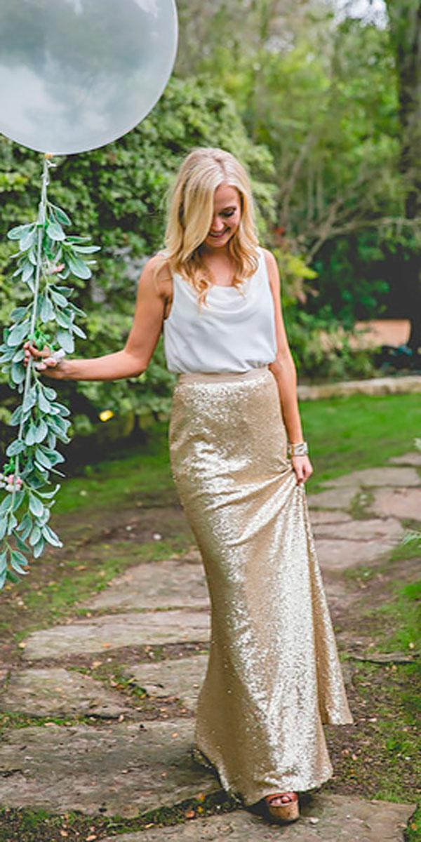 separates bateau neckline with gold skirt long bridesmaid dresses revelry