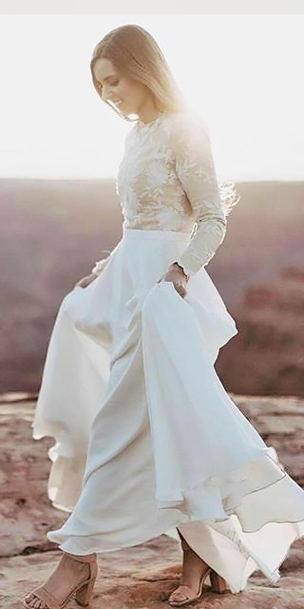separates lace with sleeves modest wedding dresses rue de seine bridal