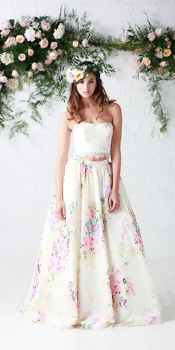 separates strapless sweetheart floral wedding dresses charlotte balbier