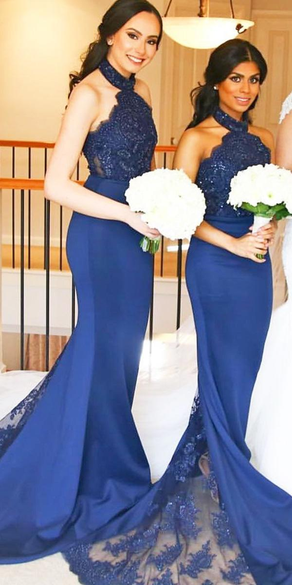 sequins lace high neck navy bridesmaid dresses doll house bridesmaids
