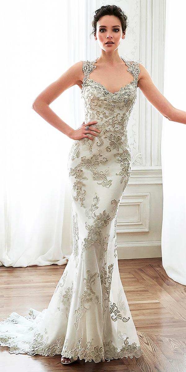 sheath bead embroidered with bling lace with crystal neckline sweetheart wedding dresses maggie sottero