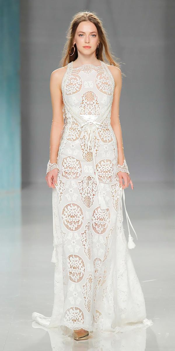 sheath halter neckline lace wedding dresses 2018 galia lahav