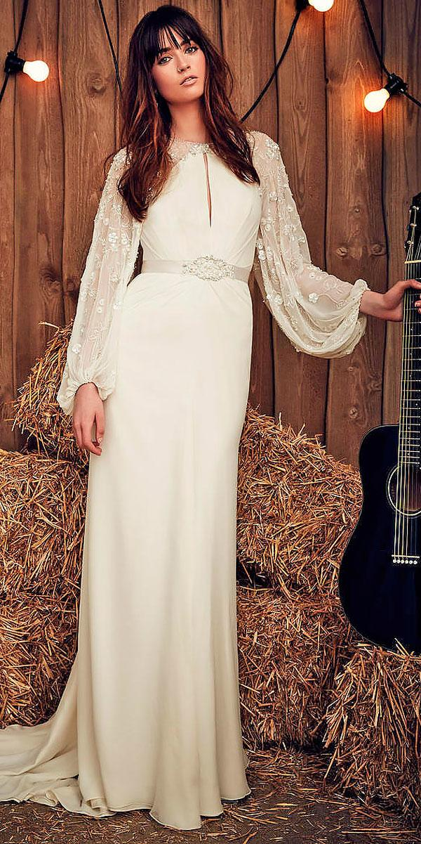 sheath high neckline with long sleeves rustic wedding dresses jeny pacham