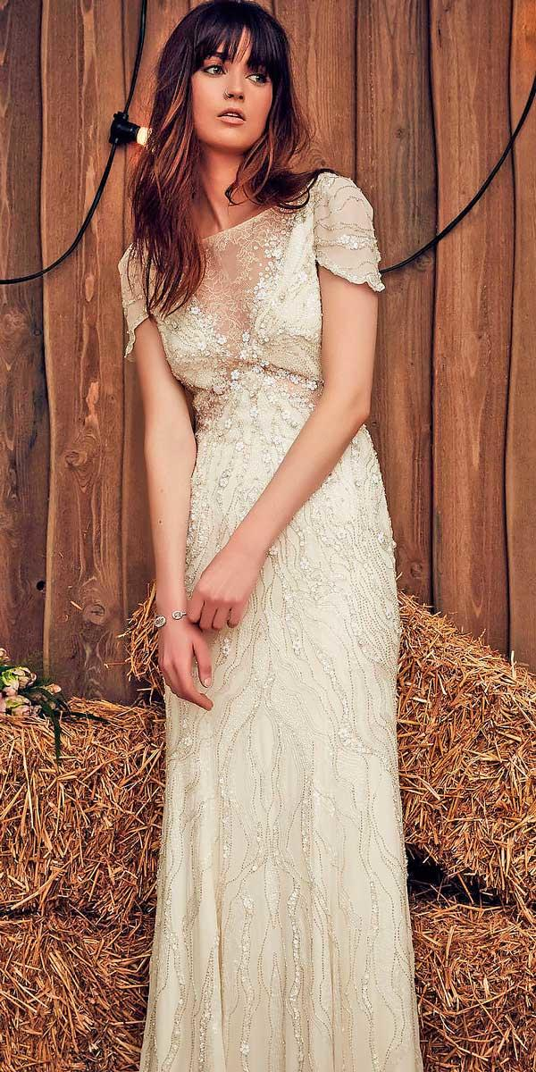 sheath illusion neck with short sleeves ivory wedding dresses jeny pacham