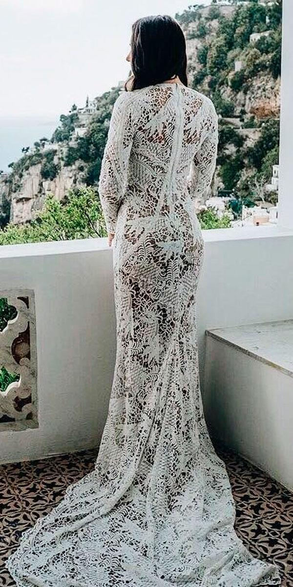 sheath lace beach bohemian wedding dresses with long sleeves and train yolan cris