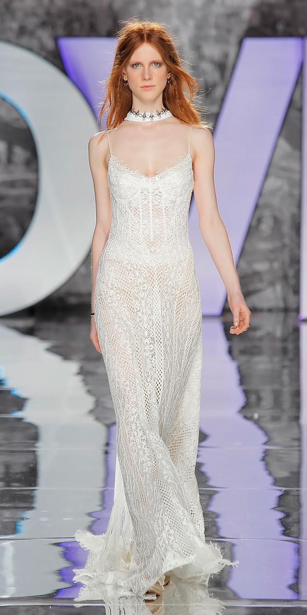 sheath lace wedding dresses 2018 with spaghetti strap yolan cris