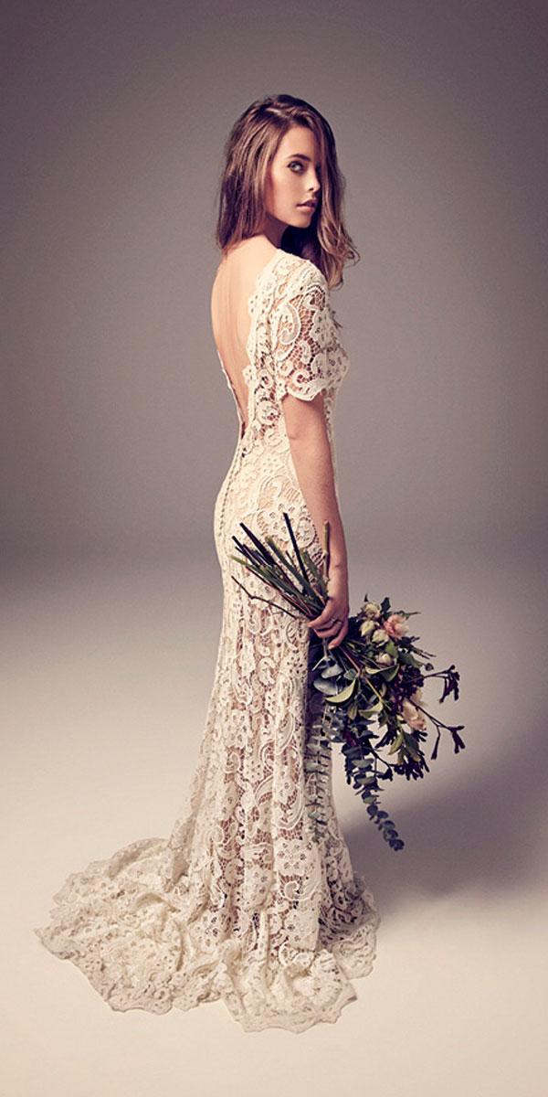 sheath lace with short sleeves wedding dresses jason ierace