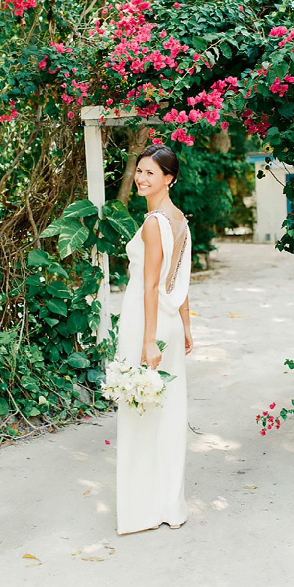 sheath low back simple modest wedding dresses elaine palladino