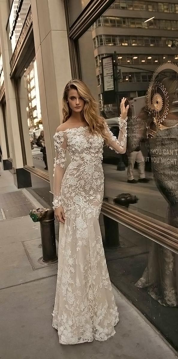 sheath off shoulder with long sleeves berta bridal wedding dresses