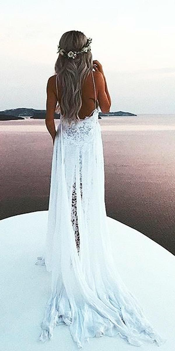 sheath spaghetti strap lace beach bohemian wedding dresses grace loves lace