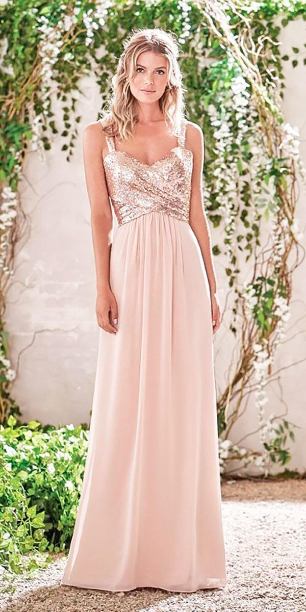 sheath-sweetheart-neckline-gold-sequin bodice long bridesmaid dresses jasmine