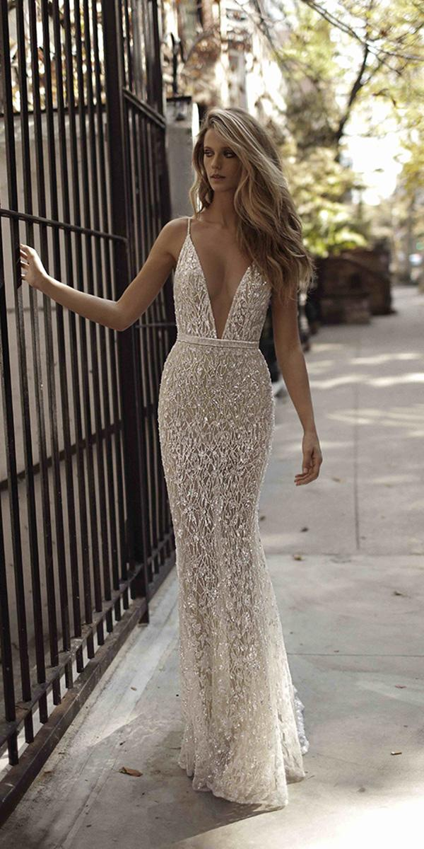 sheath v neckline and embroidered lace berta bridal wedding dresses