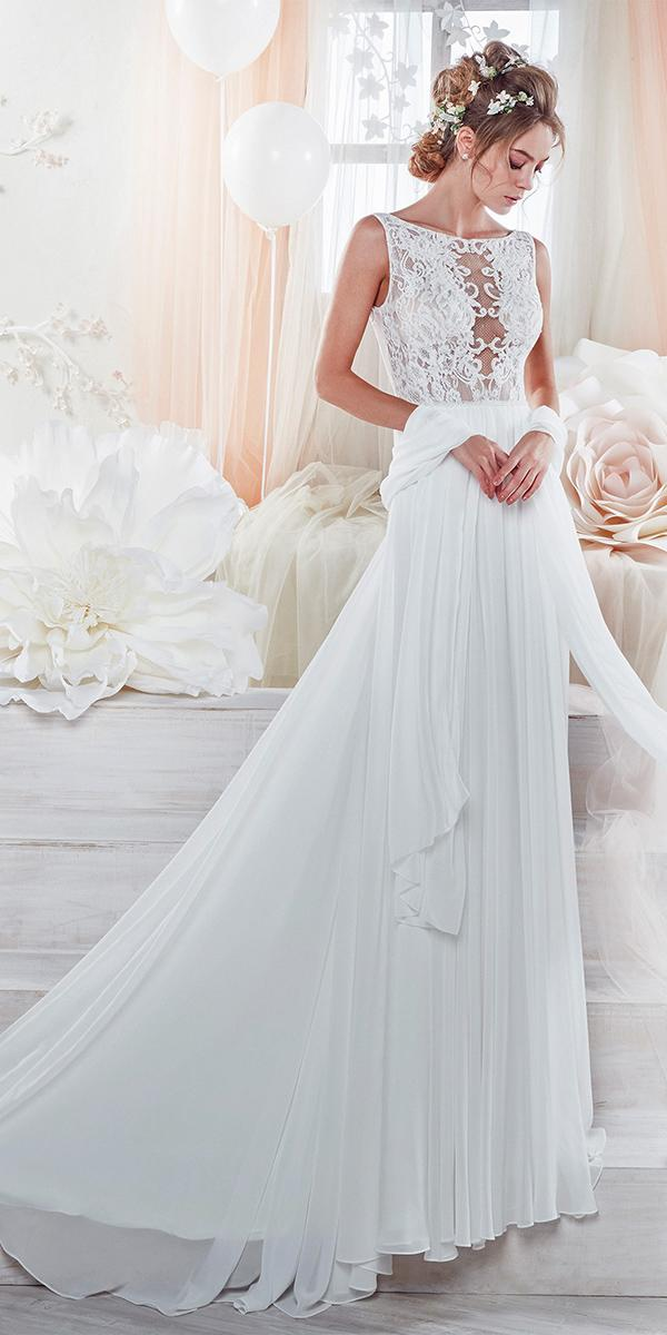 sheath with boat and embroidered lace and train nicole spose wedding dresses