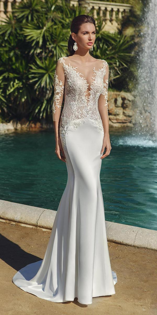 sheath with deep neckline and long sleeves ricca sposa wedding dresses