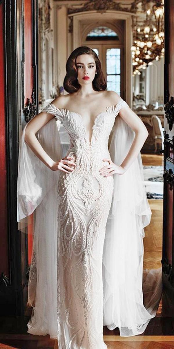 lace sheath wedding dresses with deep neckline off shoulder by elihav sasson