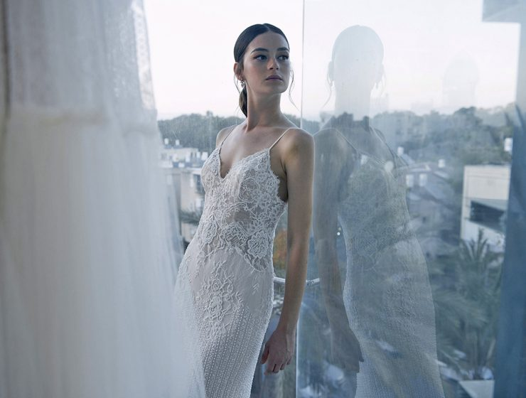 sheath with embroidered lace and spaghetti straps lihi hod wedding dresses featured