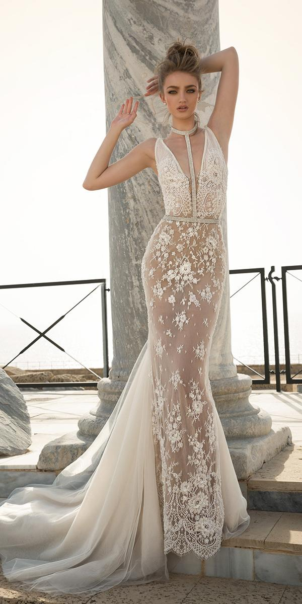 sheath with illusion halter and train dany mizrachi wedding dresses