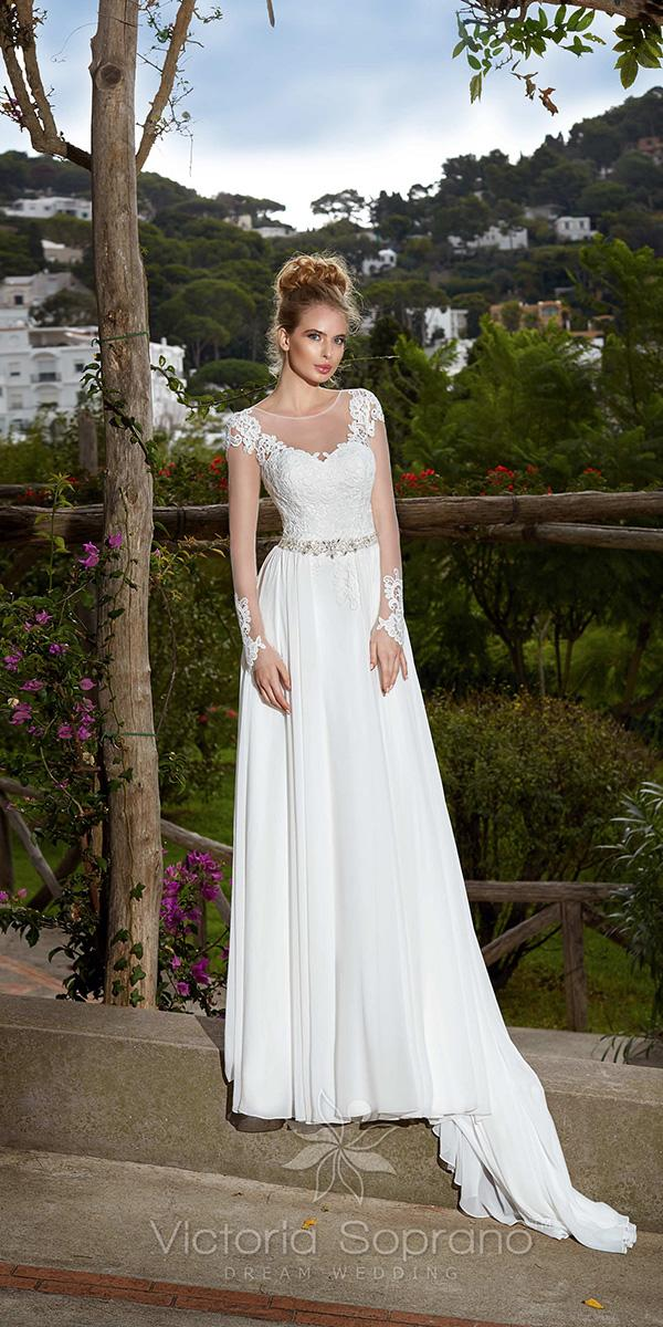 sheath with illusion long sleeves and jewel neckline victoria soprano weddin dresses