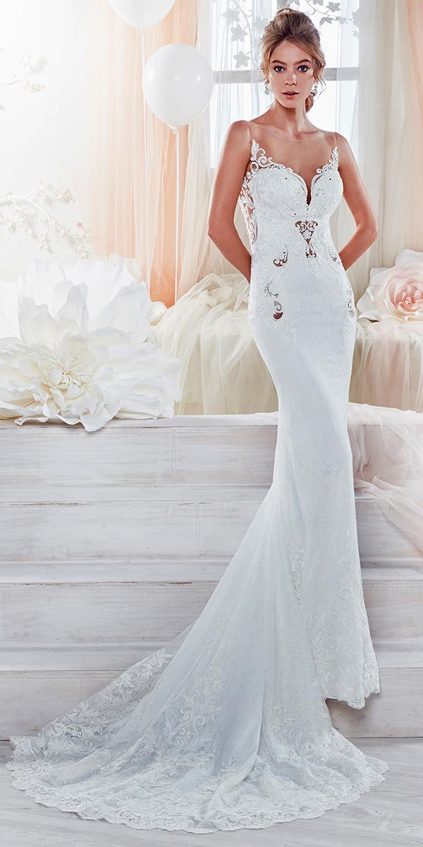 sheath with illusion sweetheart and train nicole spose wedding dresses