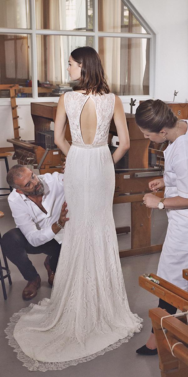 sheath with keyhole back and train lihi hod wedding dresses