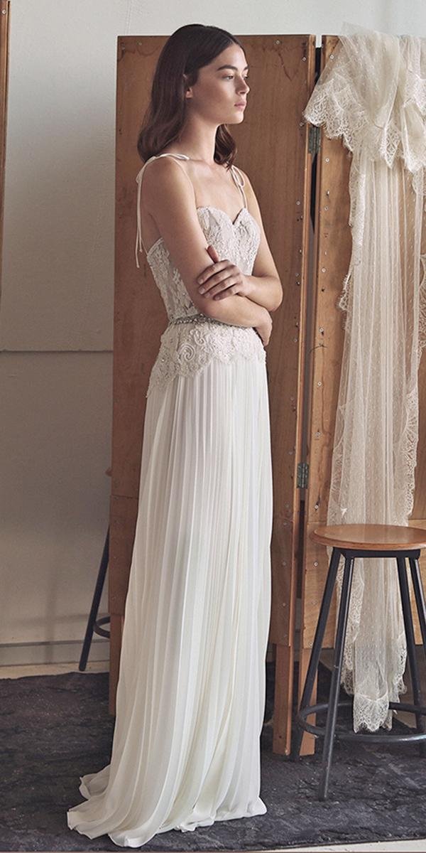 sheath with lace and spaghetti straps lihi hod wedding dresses