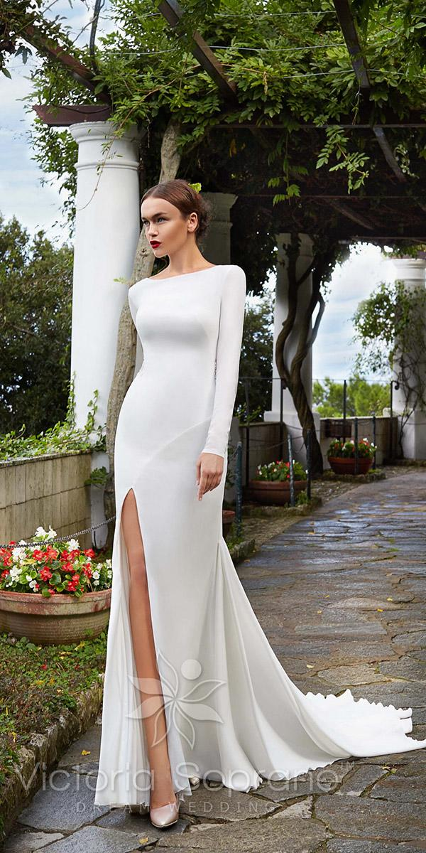 sheath with long sleeves and boat neckline and slit victoria soprano wedding dresses