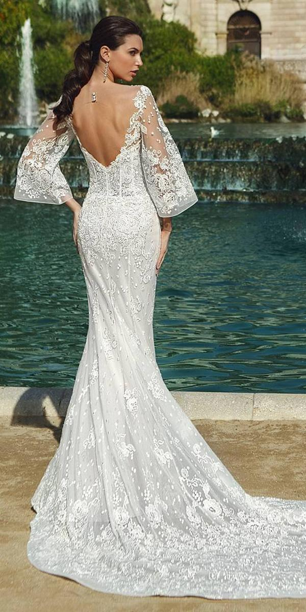 sheath with long sleeves and open back and long train ricca sposa wedding dresses