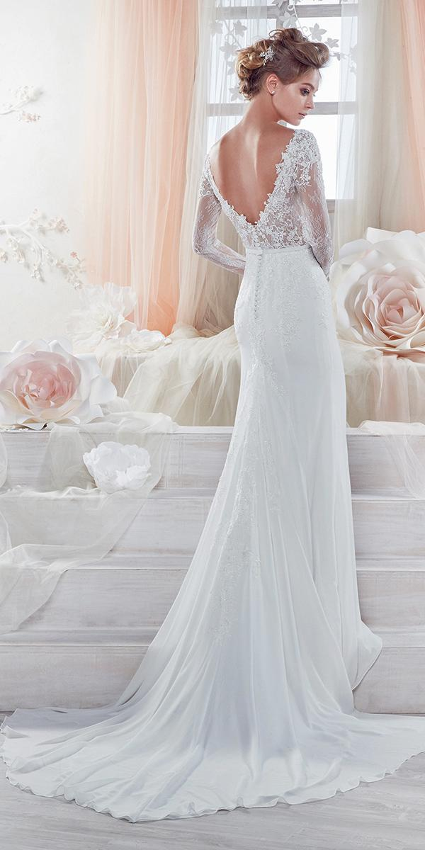 sheath with open back and long sleeves and train nicole spose weddin dresses