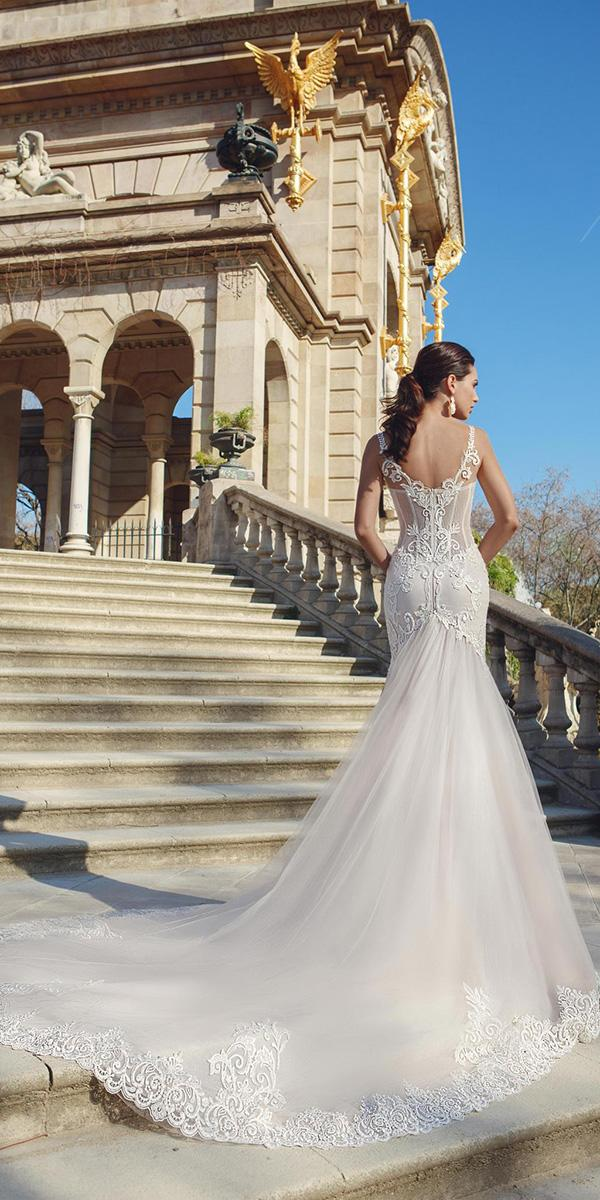 sheath with open back and long train ricca sposa wedding dresses