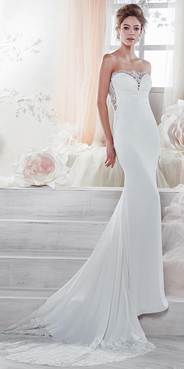 sheath with strapless sweetheart and train nicole spose wedding dresses