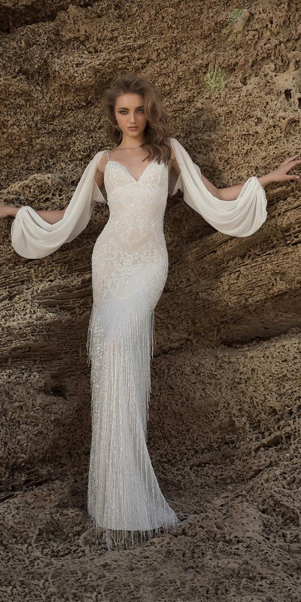 sheath with sweetheart and long sleeves dany mizrachi wedding dresses