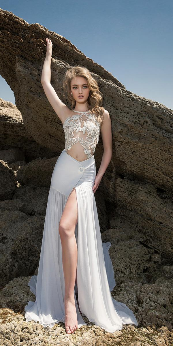 sheath with tattoo effect and halter dany mizrachi wedding dresses