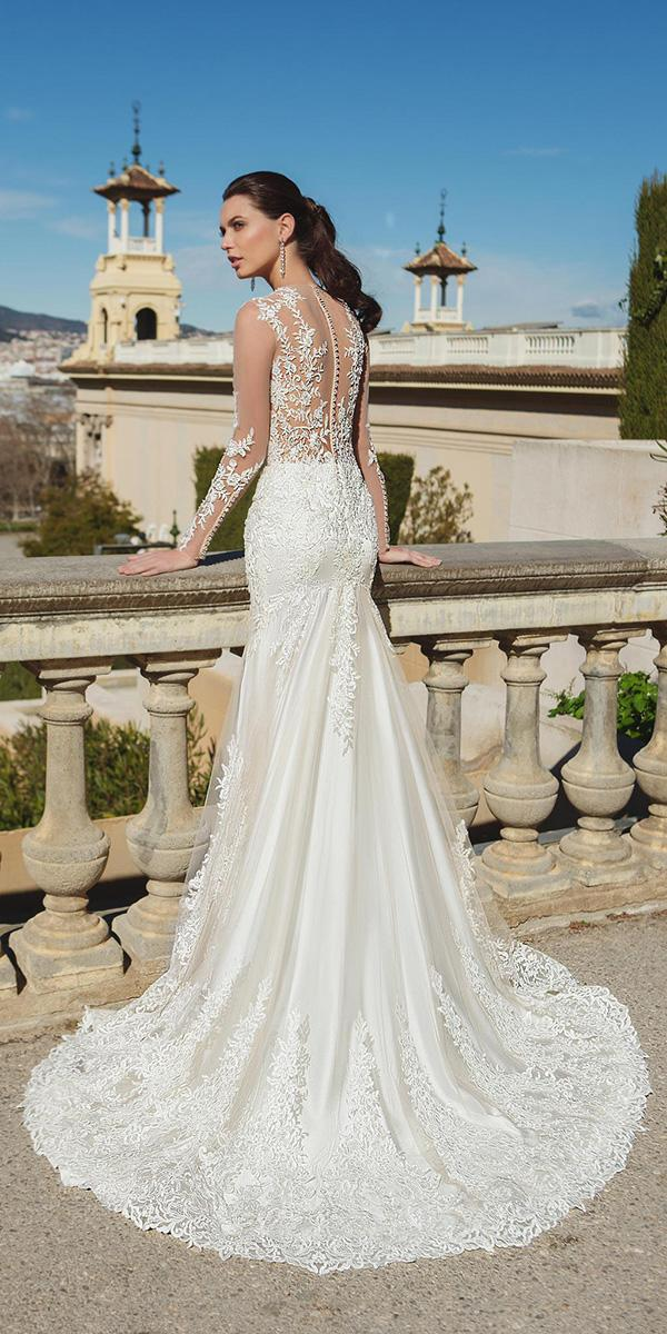 sheath with tattoo effect and long sleeves and train ricca sposa wedding dresses