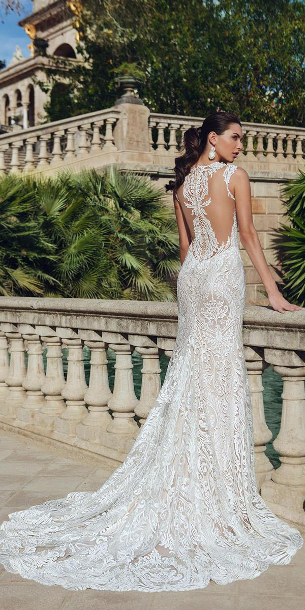 sheath with tattoo effect and shot sleeves and train ricca sposa wedding dresses