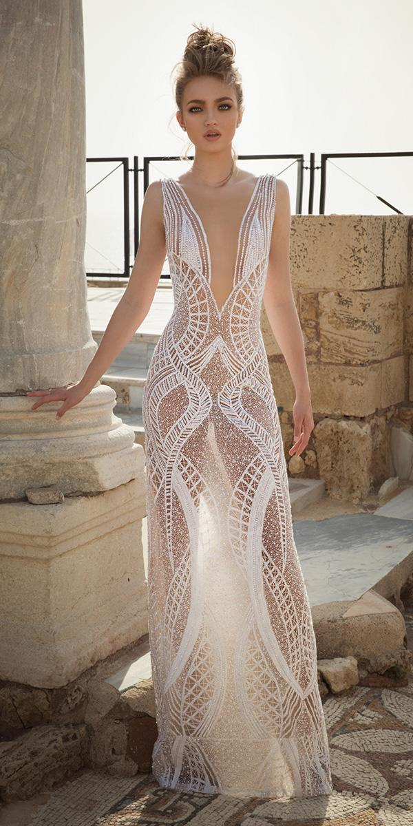sheath with v neck and tattoo effect dany mizrachi wedding dresses