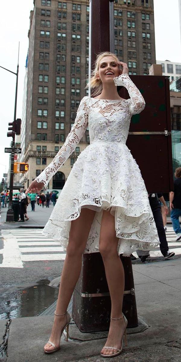 short bateau neck long sleeved lace high low wedding dresses inbal dror