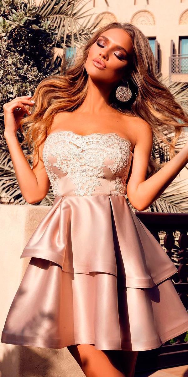 short beach wedding guest dresses lace strapless neckline blush liliy apetrova