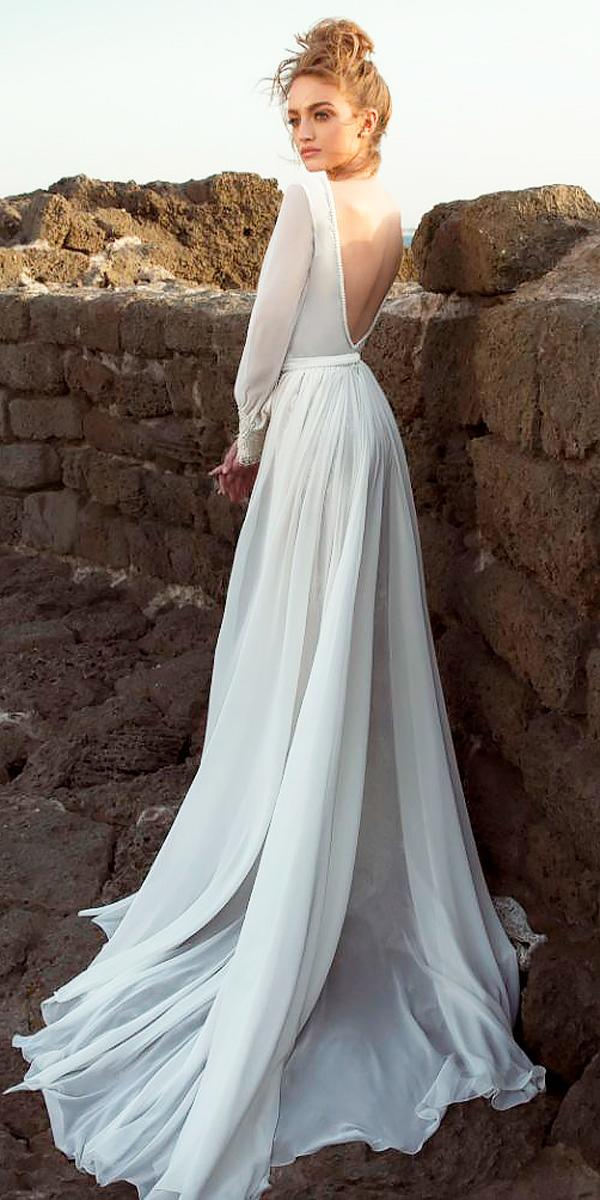 24 rustic wedding dresses to be a charming bride wedding dresses simple a line open back rustic wedding dresses with long sleeves dany mizrachi junglespirit Choice Image