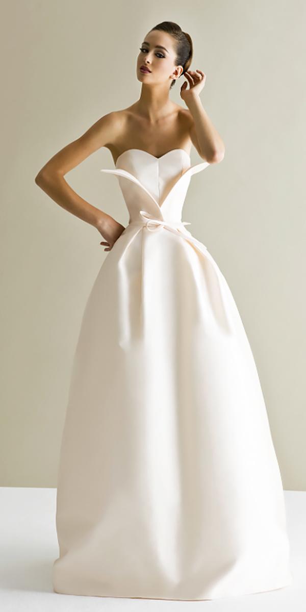 asymmetrical strapless slight curve simple elegant wedding dresses viktor rolf