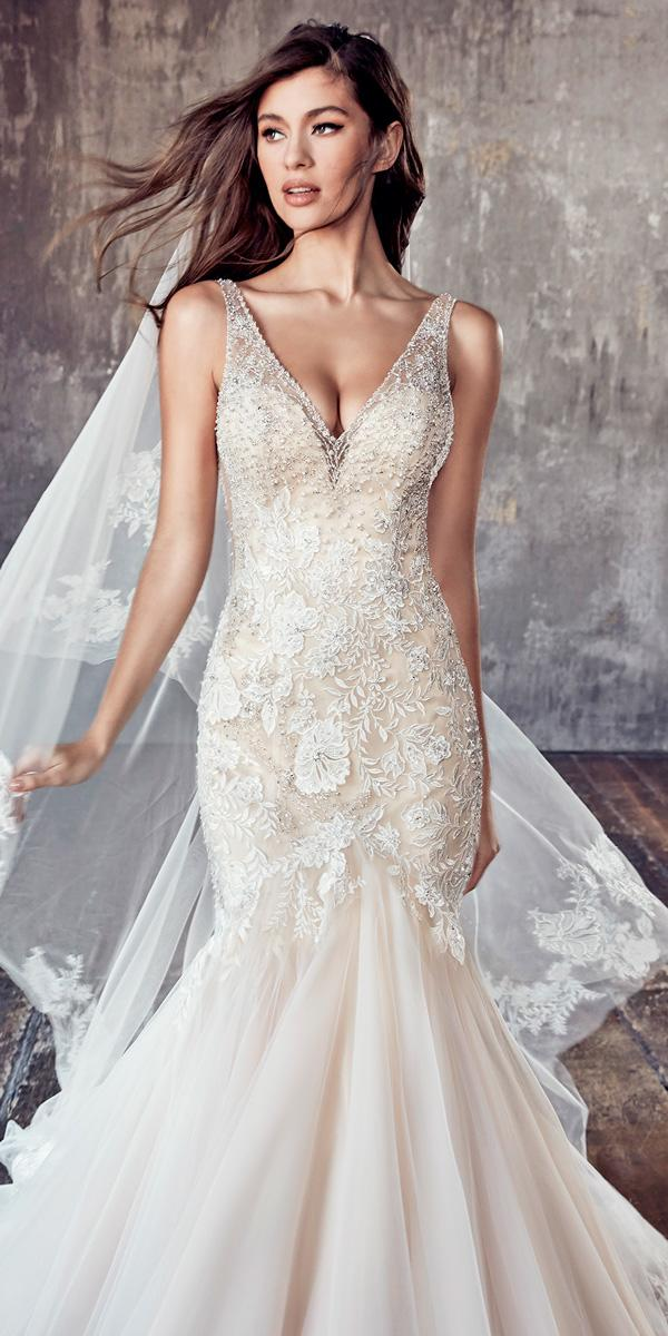 sleeveless v neck embellished bodice mermaid sweetheart wedding dresses eddy k