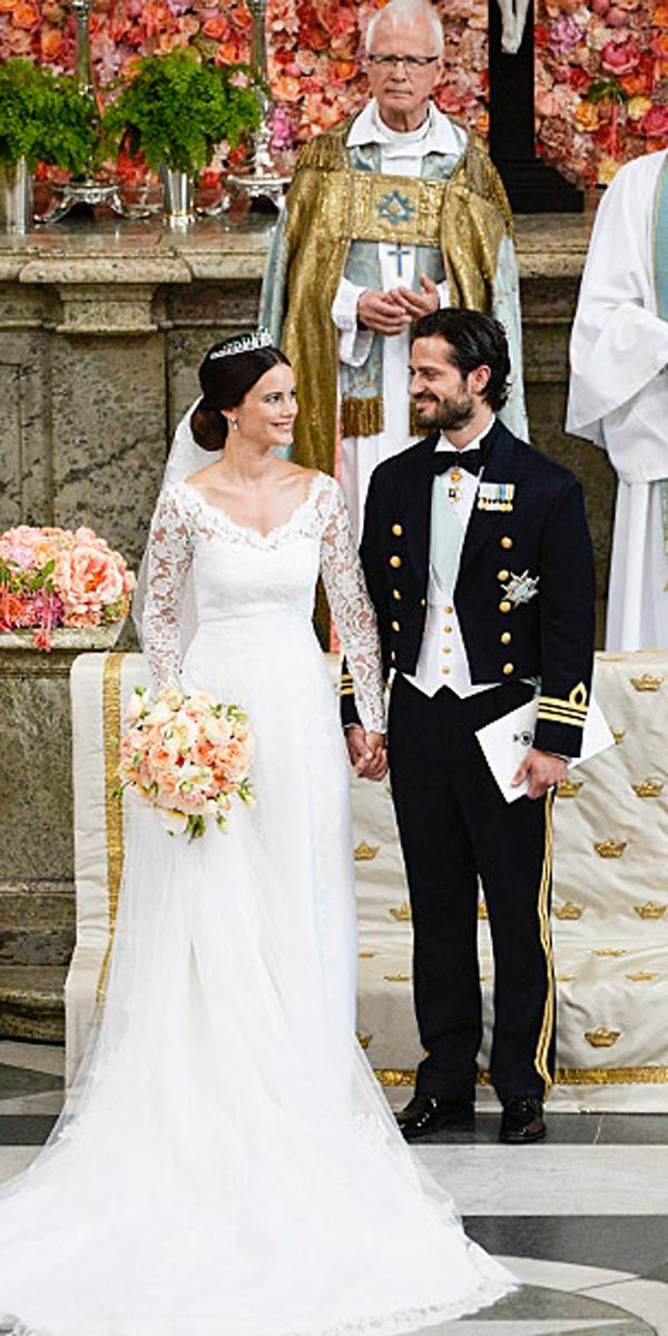 sofia kristina hellqvist straight royal lace v neck celebrity wedding dresses with long sleeves alexander mc queen